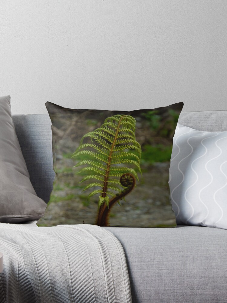Throw Pillow with Cushion Insert Ferns of New Zealand with Graphic Travel and Plant Photography Plant decor Nature design Wild and Free