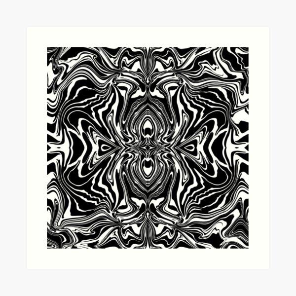 Black White Modern Graphic Kaleidoscope Marble Art Print