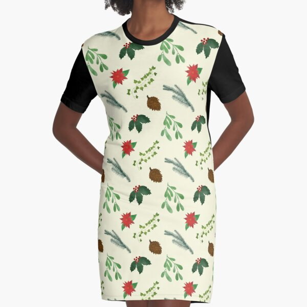 The Holly & The Ivy & The Other Christmas Plants Graphic T-Shirt Dress