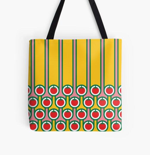 Scandi Midcentury Modern Retro Geometric Eggs Tomatoes Stripey Pattern All Over Print Tote Bag
