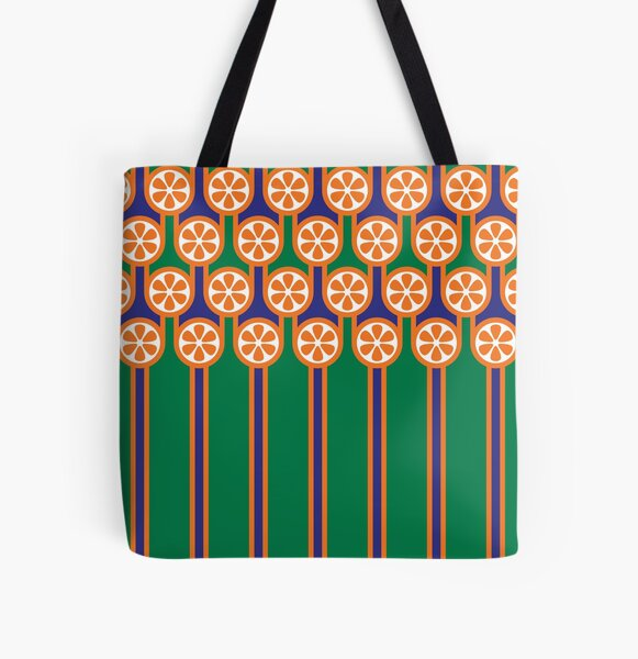 Scandi Midcentury Modern Retro Geometric Blueberries Oranges Stripey Pattern All Over Print Tote Bag