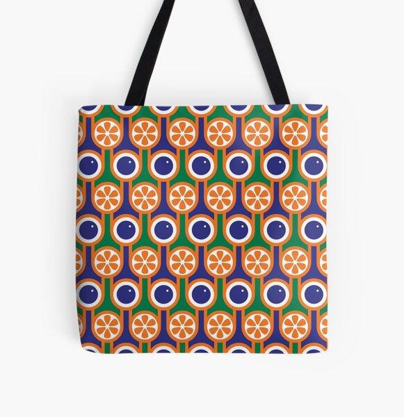 Scandi Midcentury Modern Retro Geometric Blueberries Oranges Pattern All Over Print Tote Bag