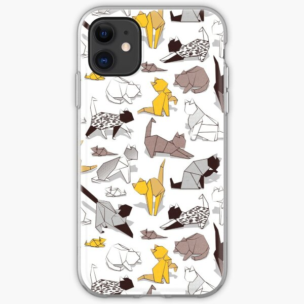 Origami kitten friends // white background with sunglow yellow paper cats iPhone Soft Case
