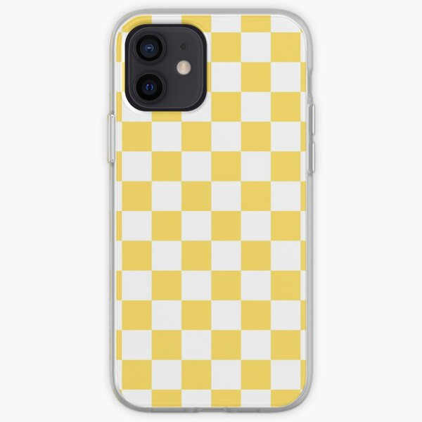 Mustard Yellow And White Checkerboard Pattern iPhone Soft Case