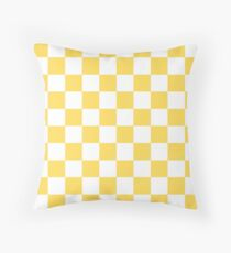 Mustard Yellow And White Checkerboard Pattern Throw Pillow
