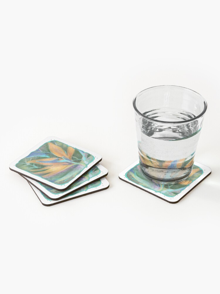 Alternate view of Tropical Flower Pastel and Digital Art Coasters (Set of 4)
