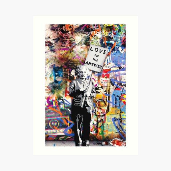 Banksy - Einstein Love ist die Antwort Kunstdruck