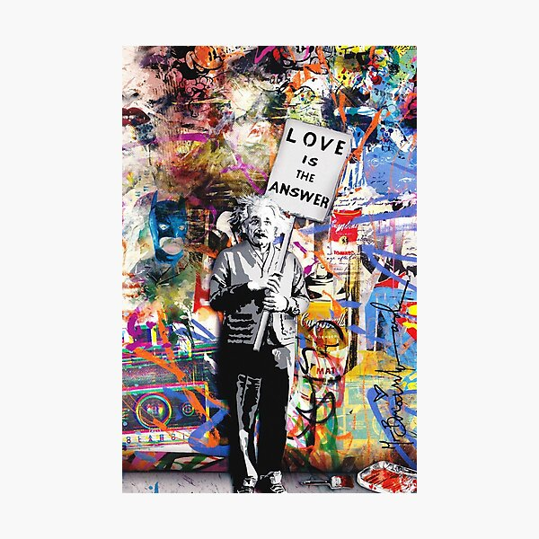 Banksy - Einstein Love Is The Answer Photographic Print
