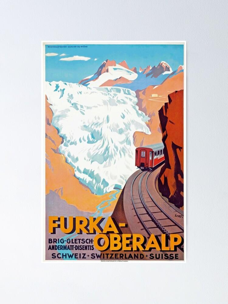 Alternate view of Furka Oberalp Railway - Vintage Swiss Travel Poster Poster