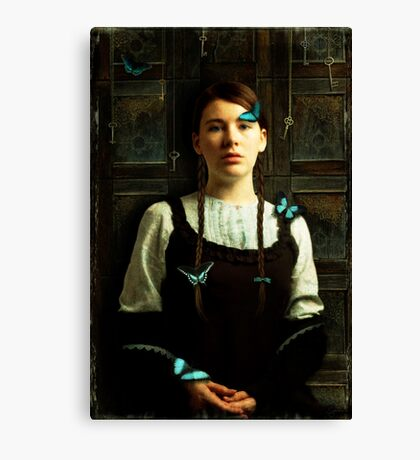 Girl with Blue Butterflies Canvas Print