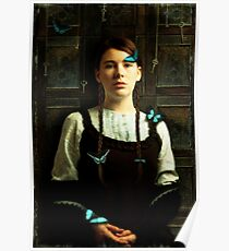 Girl with Blue Butterflies Poster