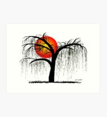 Weeping Willow Tree at Sunset Art Print