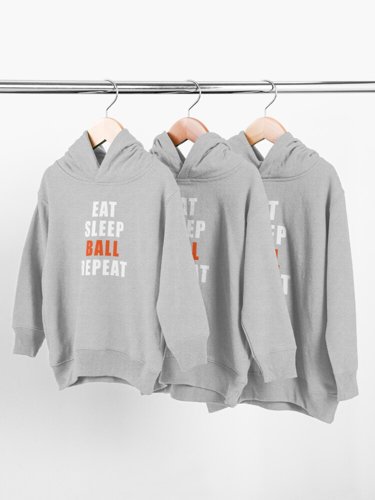 Alternate view of Eat Sleep Ball Repeat Basketball Gift Player Coach Toddler Pullover Hoodie