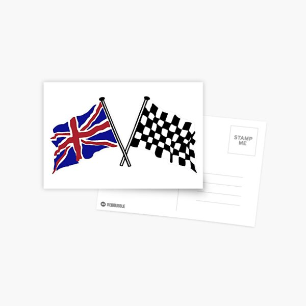 Crossed flags - Racing and Great Britain Postcard
