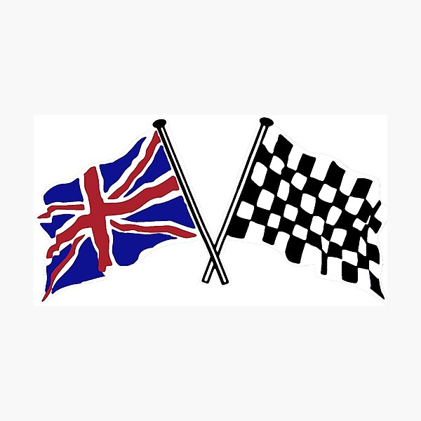 Crossed flags - Racing and Great Britain Photographic Print