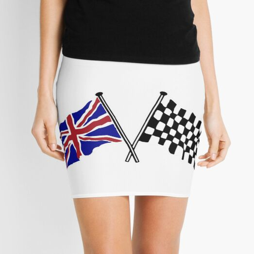 Crossed flags - Racing and Great Britain Mini Skirt