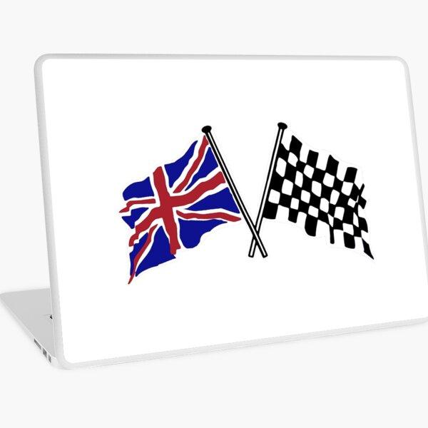 Crossed flags - Racing and Great Britain Laptop Skin