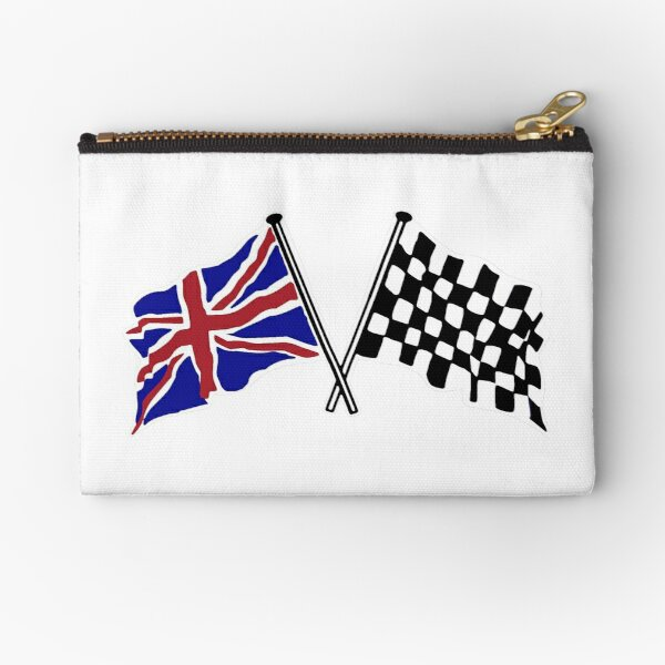 Crossed flags - Racing and Great Britain Zipper Pouch