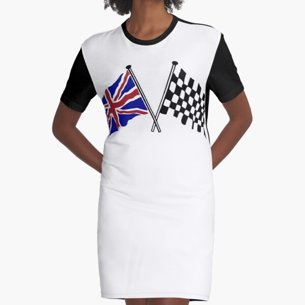 Crossed flags - Racing and Great Britain Graphic T-Shirt Dress