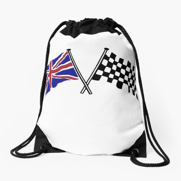 Crossed flags - Racing and Great Britain Drawstring Bag