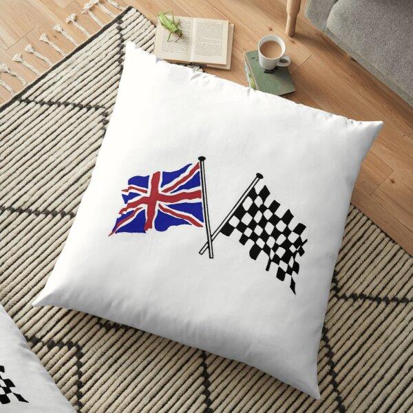 Crossed flags - Racing and Great Britain Floor Pillow