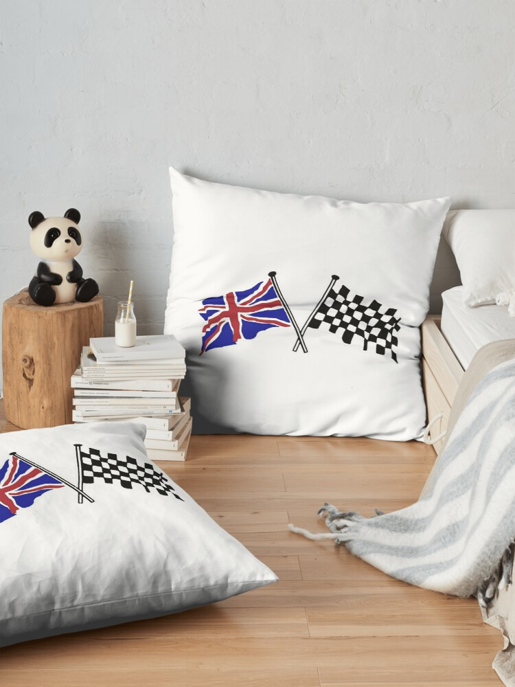 Alternate view of Crossed flags - Racing and Great Britain Floor Pillow