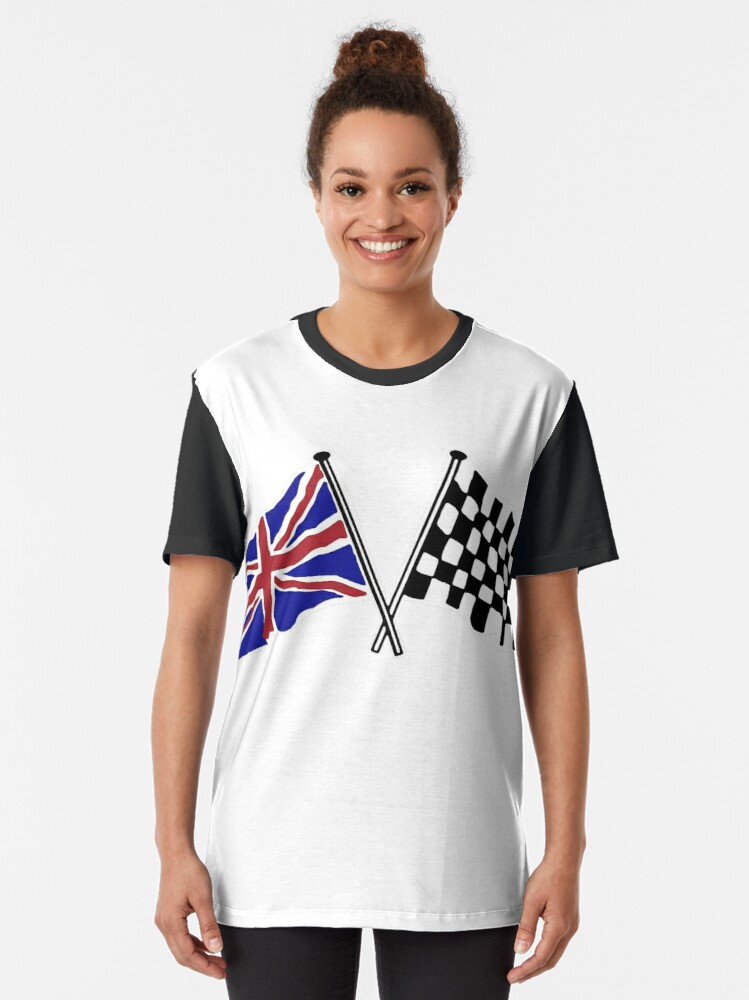 Alternate view of Crossed flags - Racing and Great Britain Graphic T-Shirt