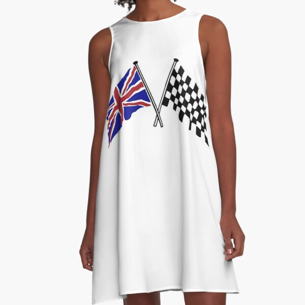 Crossed flags - Racing and Great Britain A-Line Dress