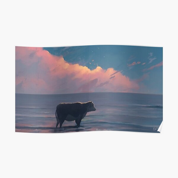 A Cow At The Sea Poster
