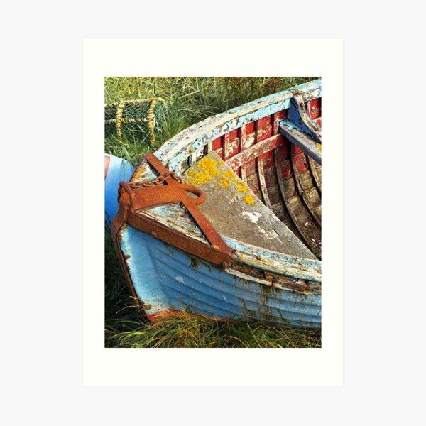 Colourful boat on Holy Island Art Print