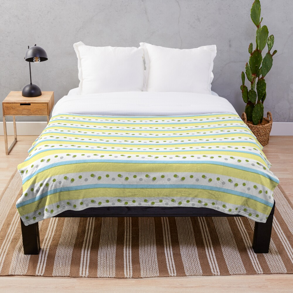 Out Damn Spot! Pale Blue/Yellow Throw Blanket