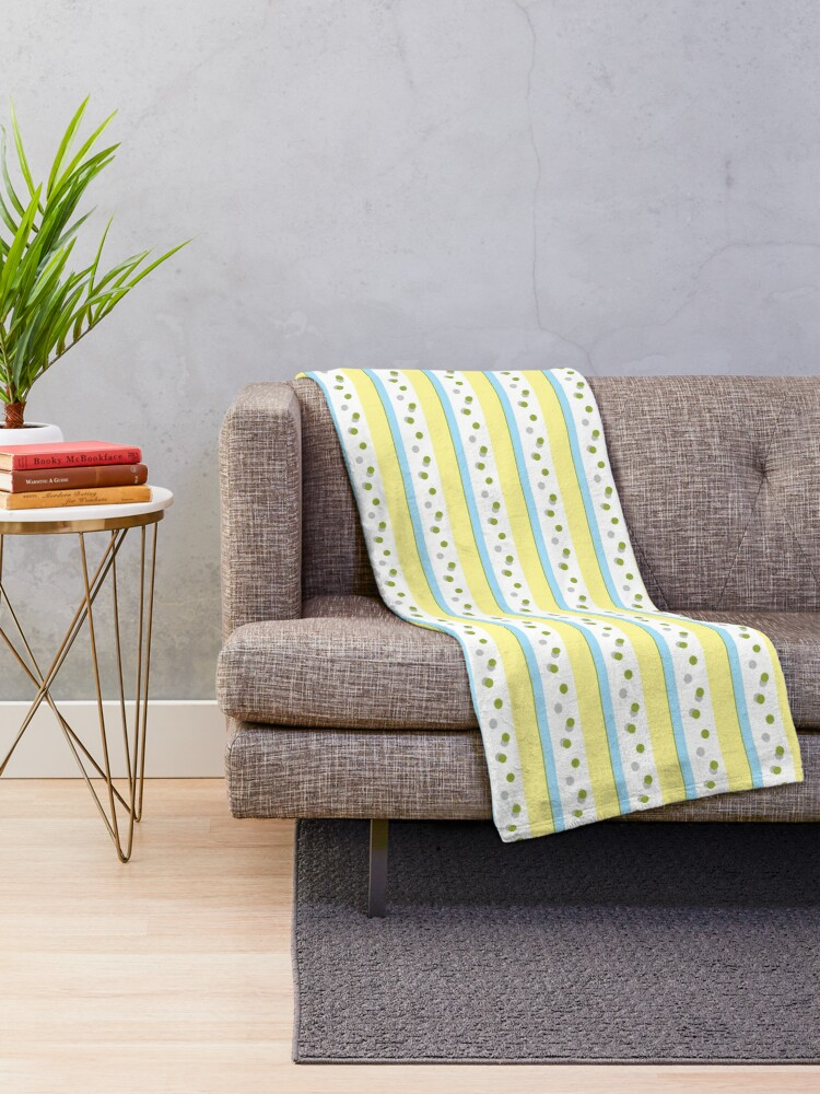 Alternate view of Out Damn Spot! Pale Blue/Yellow Throw Blanket