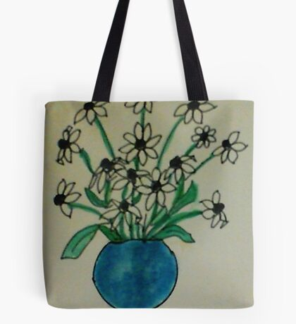Blue Vase with White  Daiseys, watercolor Tote Bag