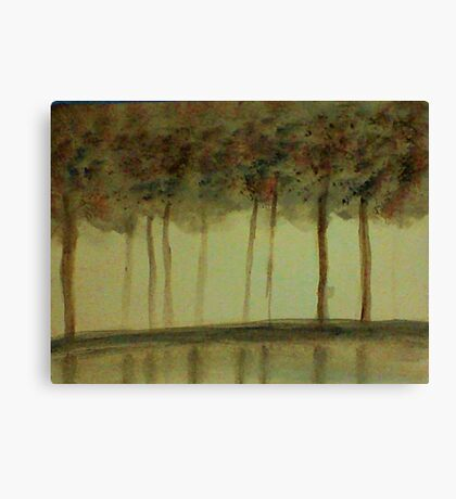 Misty Trees Reflected in Water,,,watercolor Canvas Print