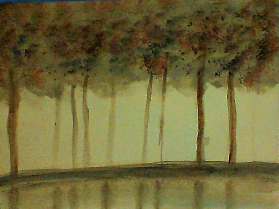 Misty Trees Reflected in Water,,,watercolor by Anna  Lewis, blind artist