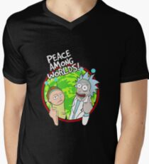 Peace Among Worlds Rick and Morty Funny Flipping Middle Finger shirt Fan Gift V-Neck T-Shirt