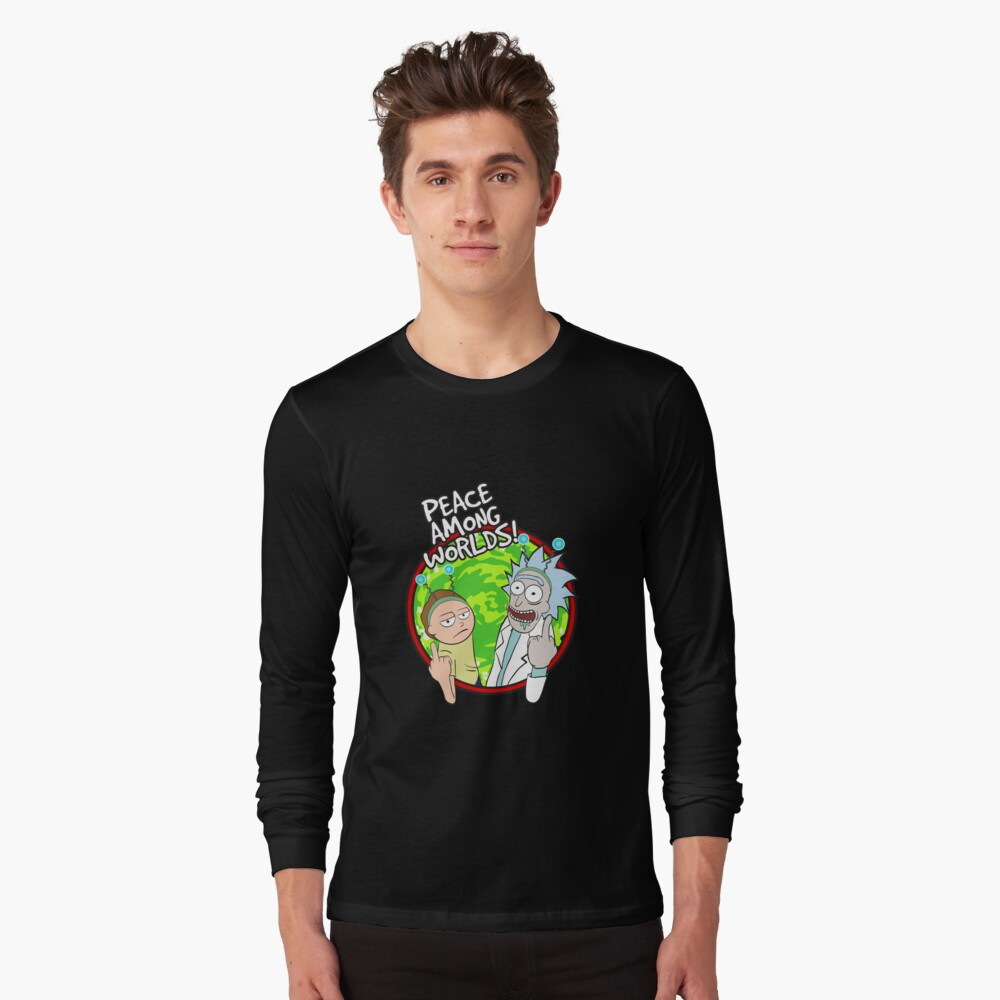 Peace Among Worlds Rick and Morty Funny Flipping Middle Finger shirt Fan Gift Long Sleeve T-Shirt