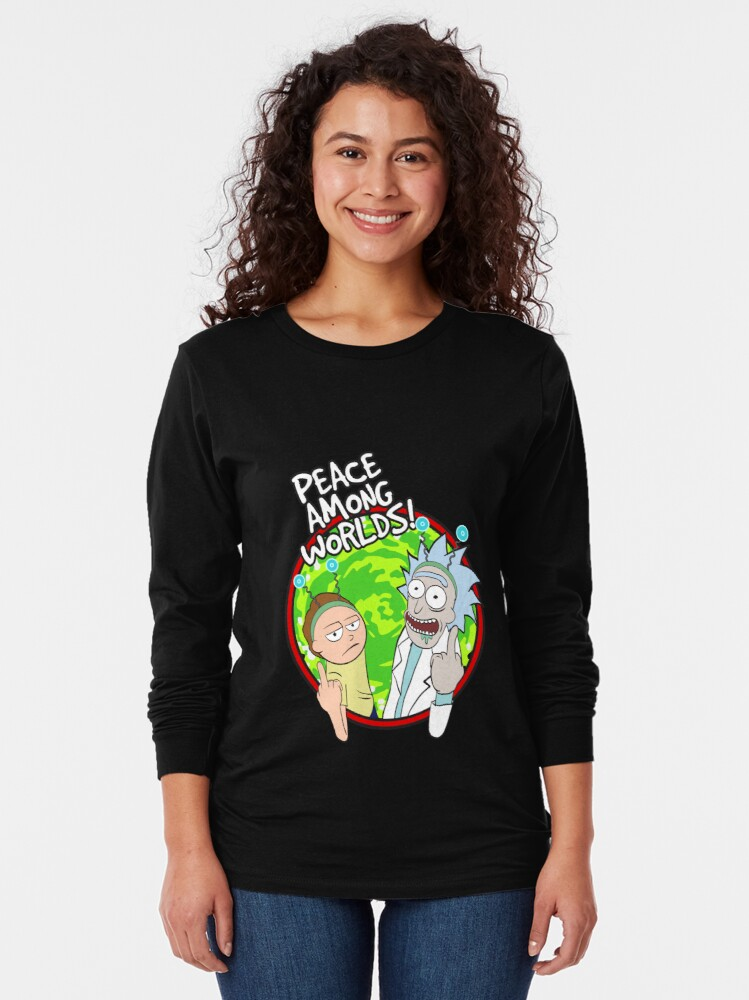 Alternate view of Peace Among Worlds Rick and Morty Funny Flipping Middle Finger shirt Fan Gift Long Sleeve T-Shirt