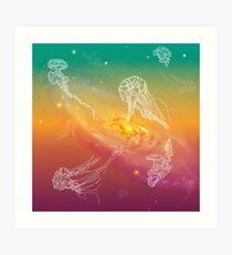 Galactic Rainbow Jellyfish Art Print