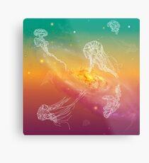 Galactic Rainbow Jellyfish Metal Print