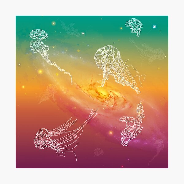 Galactic Rainbow Jellyfish Photographic Print