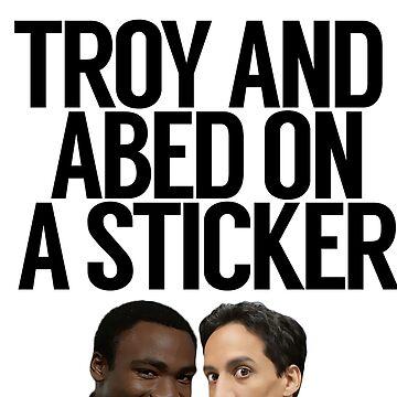 Troy y Abed en una etiqueta engomada de politedemon
