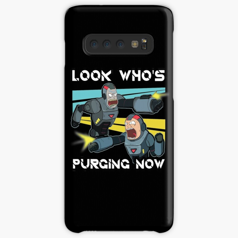 Look Whos Purging Now Rick and Morty Funny Purging Zombie Fighting Suits shirt Fan Gift Case & Skin for Samsung Galaxy