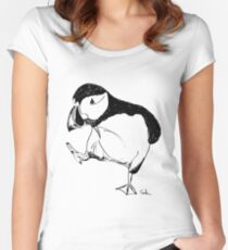 Puffin takes a walk Women's Fitted Scoop T-Shirt