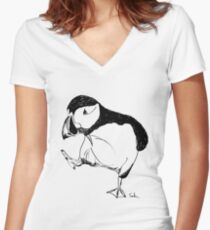 Puffin takes a walk Women's Fitted V-Neck T-Shirt