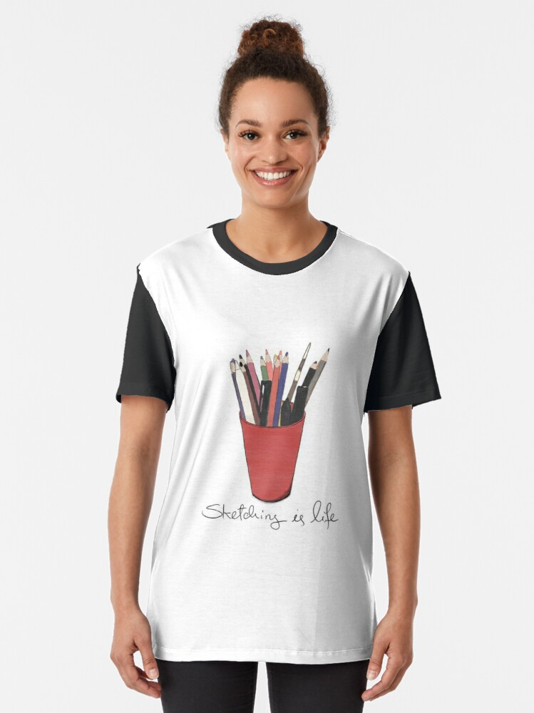 Alternate view of Sketching is Life Graphic T-Shirt