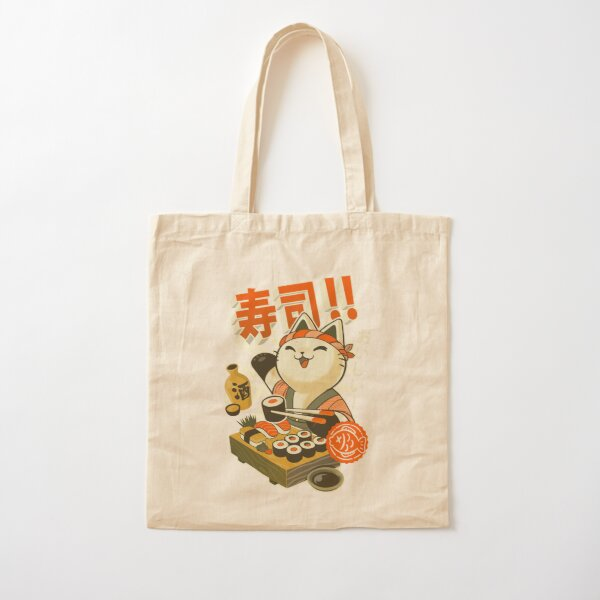 Sushi Chef Cat - Funny Restaurant Kitty - Japanese Food Cotton Tote Bag