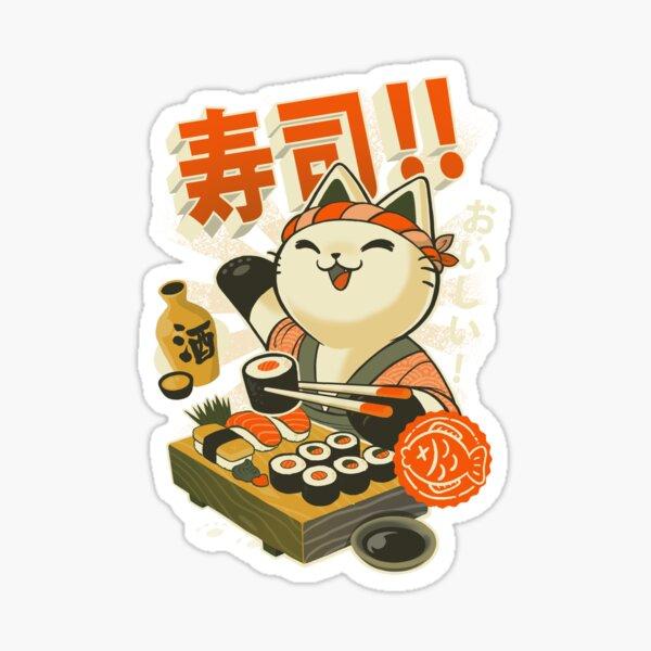 Sushi Chef Cat - Funny Restaurant Kitty - Japanese Food Sticker