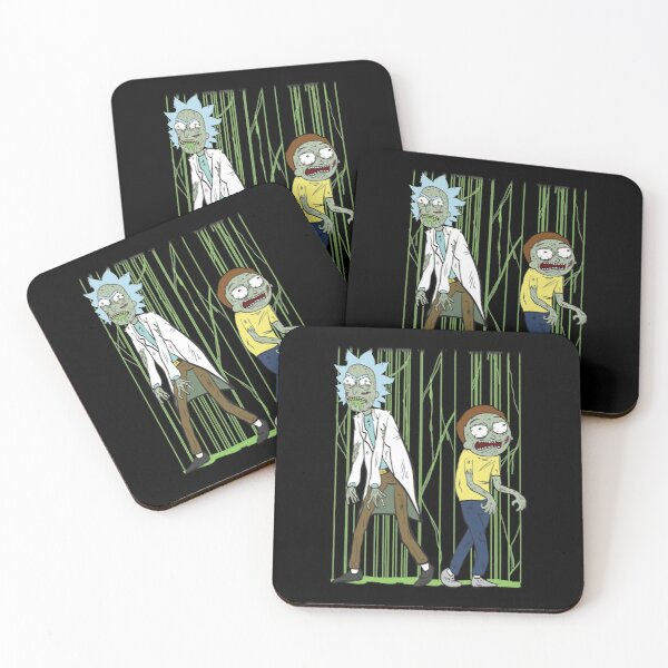 Zombies Rick and Morty Scary Zombies Costume shirt Fan Gift Coasters (Set of 4)