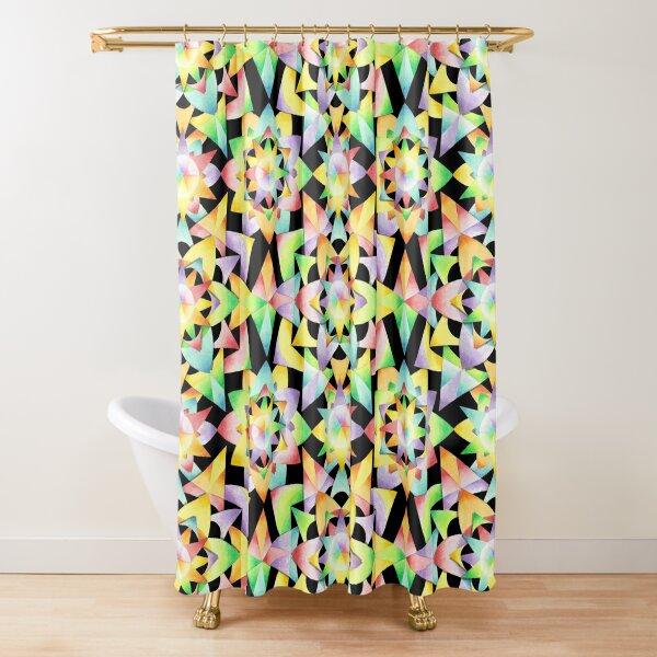 Rainbow Kaleidoscope Mandala Shower Curtain